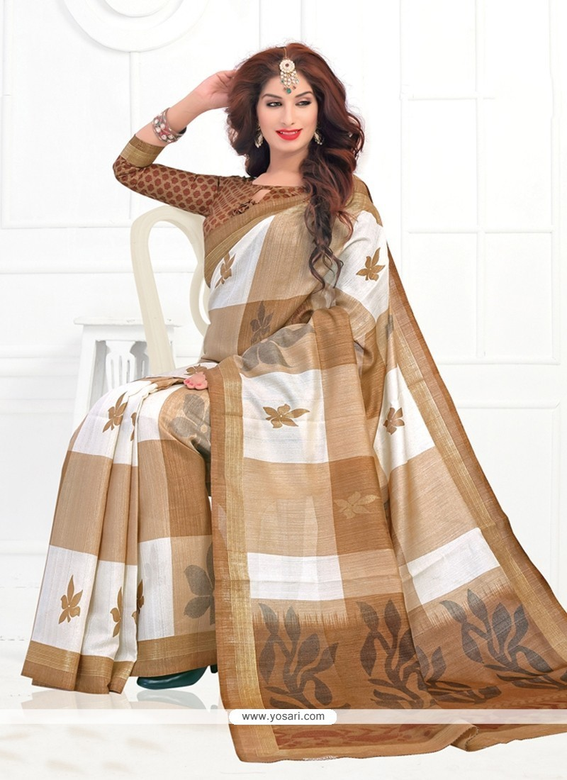 Spectacular Cream Silk Printed Saree