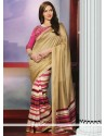 Elite Cream And Pink Art Silk Saree