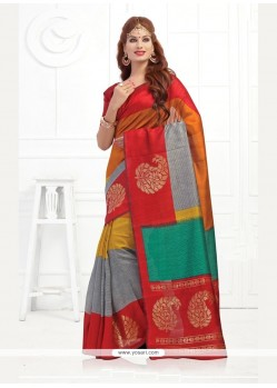 Festal Silk Print Work Printed Saree