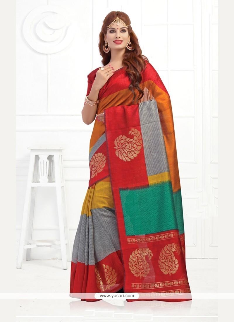 Festal Silk Print Work Printed Saree