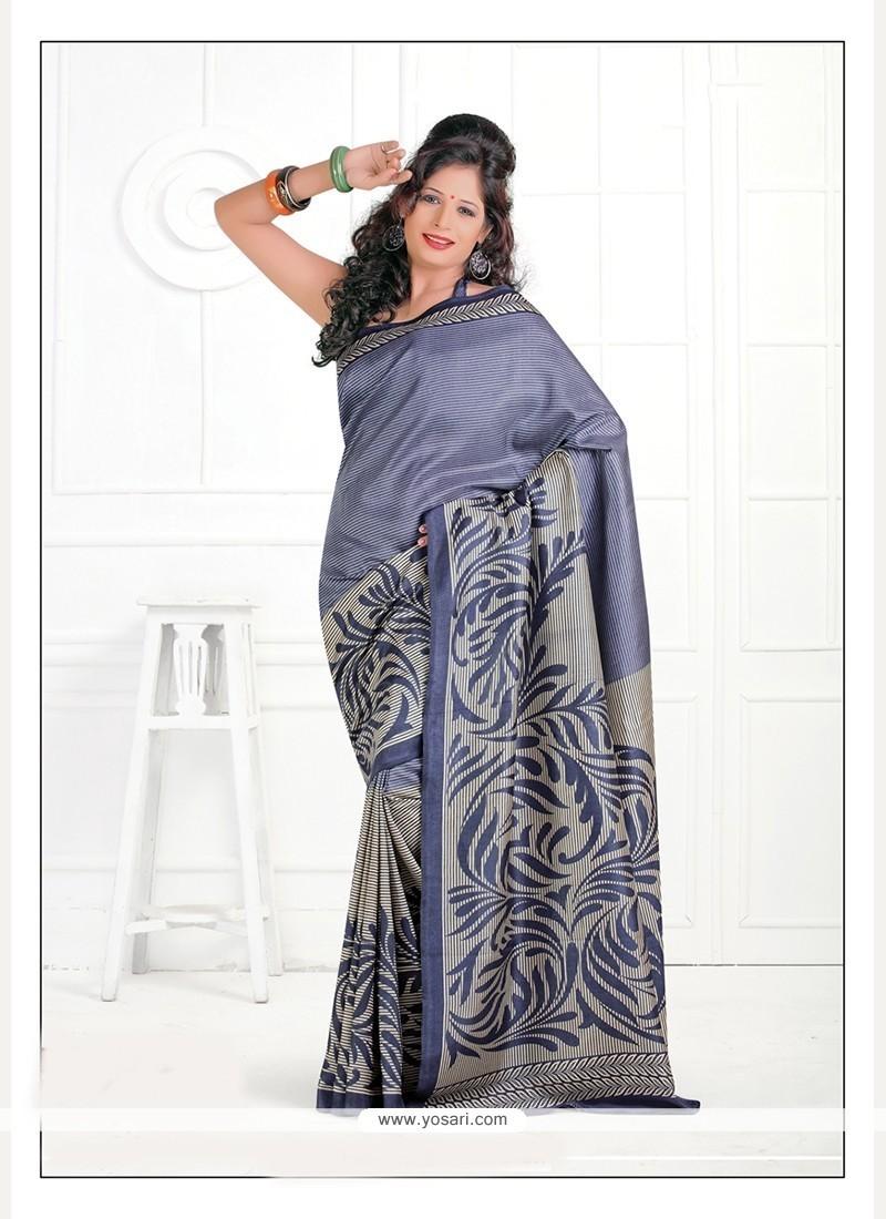 Riveting Grey Print Work Silk Casual Saree