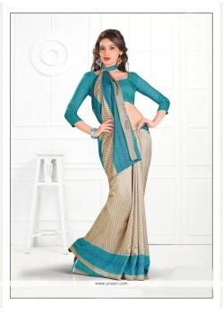 Exceptional Silk Print Work Casual Saree