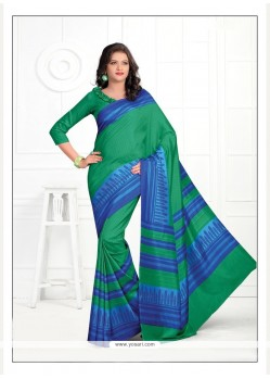 Subtle Print Work Silk Casual Saree