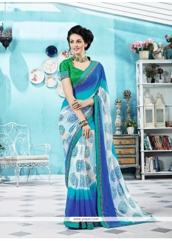 Divine Multi Colour Print Work Georgette Printed Saree
