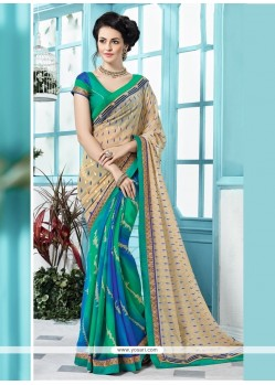 Fashionable Georgette Print Work Printed Saree