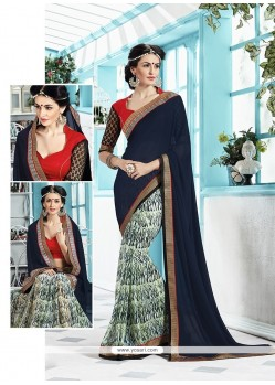 Exceptional Georgette Print Work Printed Saree