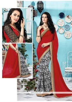 Prime Georgette Multi Colour Print Work Printed Saree