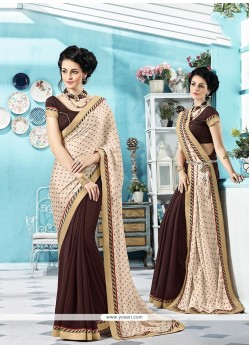 Vibrant Brown Printed Saree