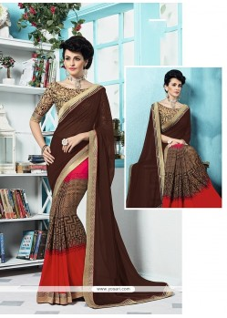 Catchy Georgette Multi Colour Printed Saree