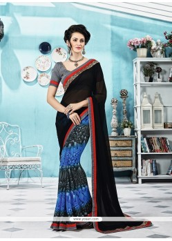 Hypnotic Print Work Georgette Printed Saree