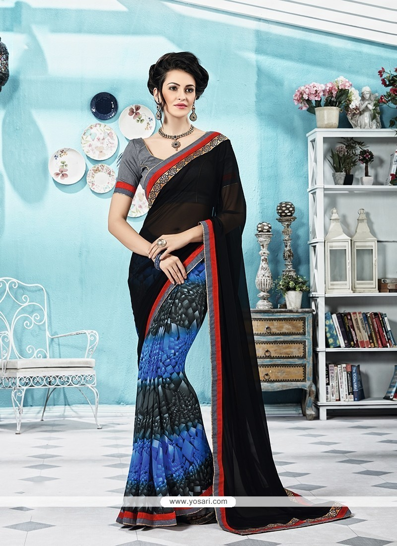73833b8533 Buy Hypnotic Print Work Georgette Printed Saree | Designer Sarees