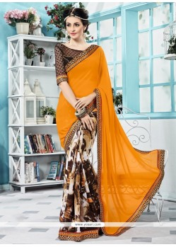 Prodigious Print Work Multi Colour Georgette Printed Saree