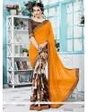 Prodigious Print Work Multi Colour Georgette Printed Saree