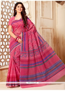 Awesome Multi Colour Print Work Cotton Casual Saree