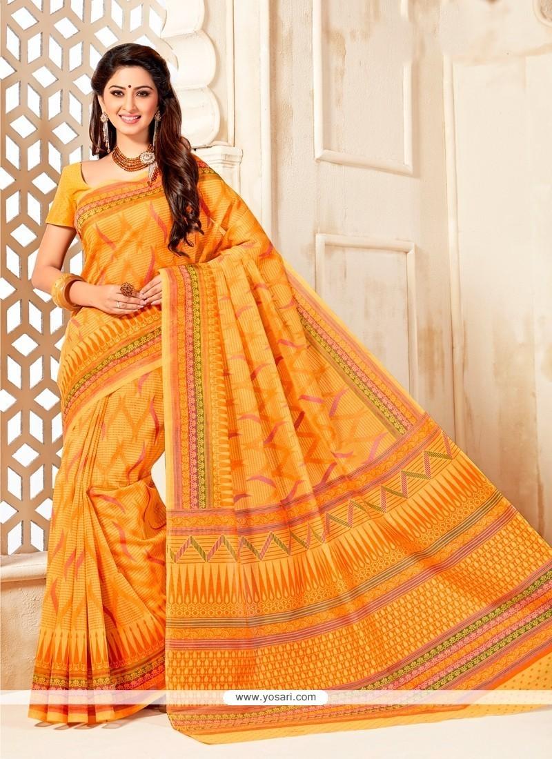 Catchy Print Work Cotton Casual Saree
