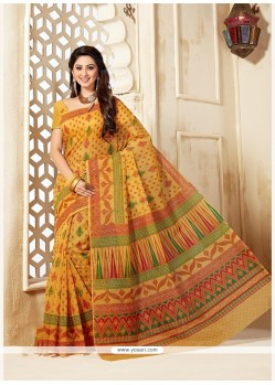 Sparkling Cotton Print Work Casual Saree
