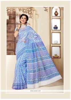 Impeccable Print Work Cotton Casual Saree