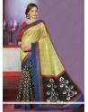 Yellow And Black Art Silk Casual Saree