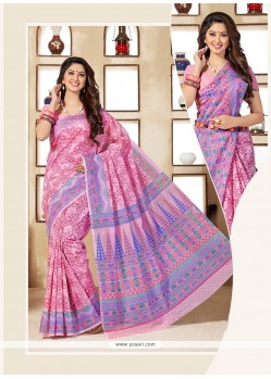 Dilettante Multi Colour Print Work Casual Saree