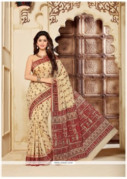 Hypnotizing Cotton Print Work Printed Saree