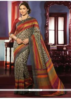 Deserving Cream Art Silk Casual Saree