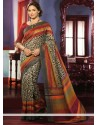 Deserving Cream Art Silk Casual Saree