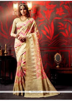 Splendid Pink Patch Border Work Weaving Designer Saree