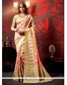 Splendid Pink Patch Border Work Weaving Designer Saree