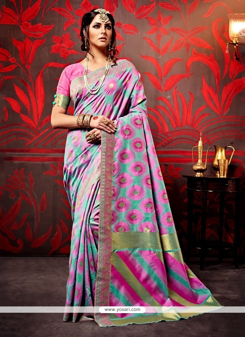 Distinctive Lavender Weaving Designer Saree