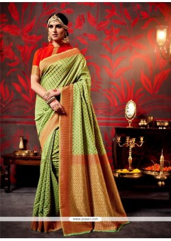 Absorbing Green Traditional Saree