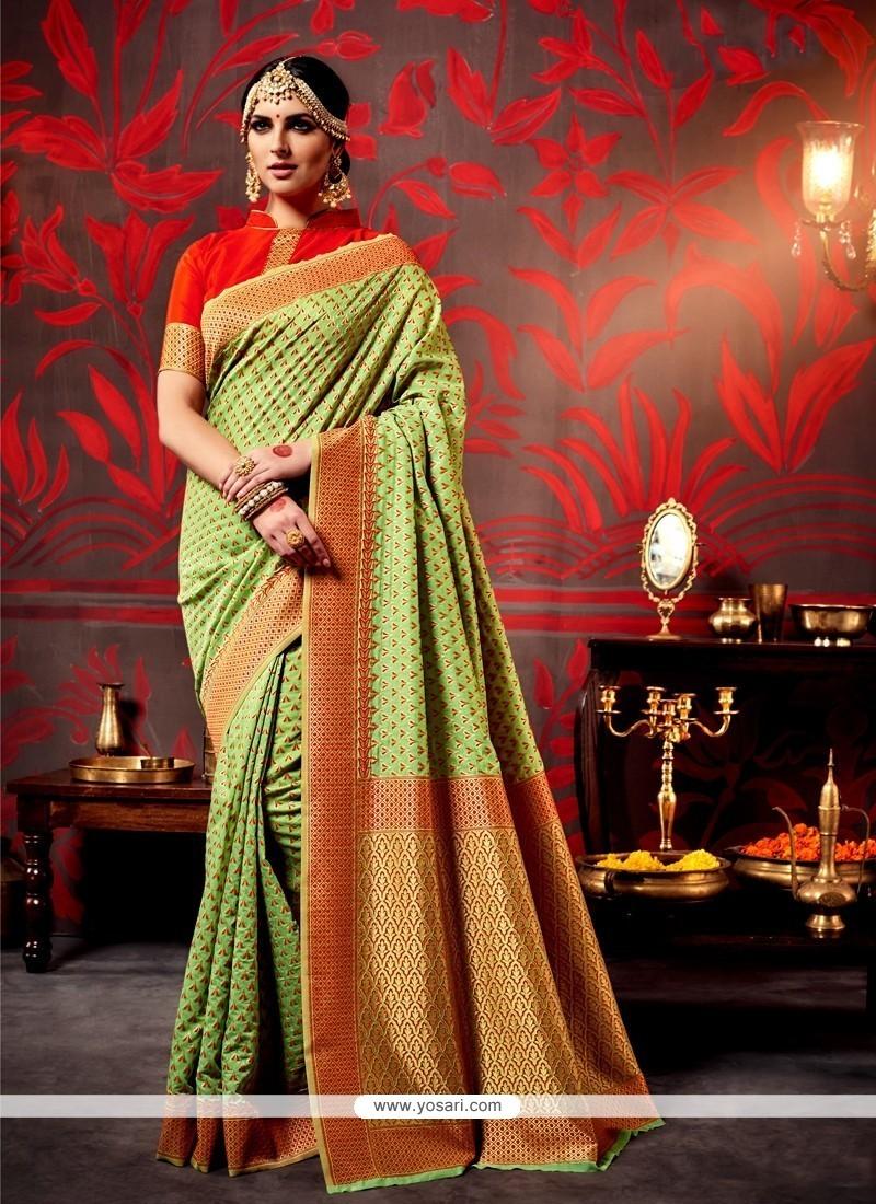 Absorbing Green Traditional Saree