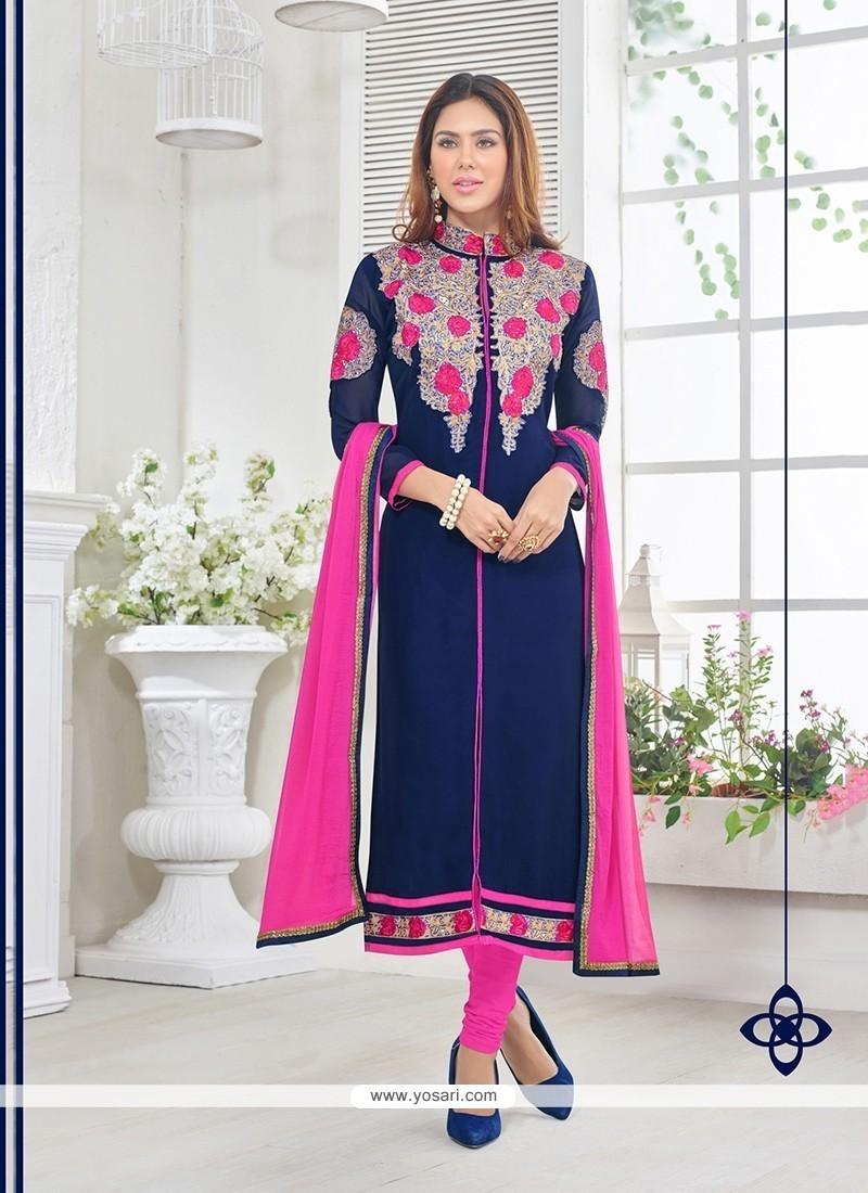 Mod Resham Work Georgette Churidar Designer Suit
