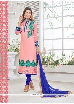 Beautiful Georgette Pink Resham Work Churidar Designer Suit
