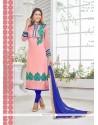 Beautiful Georgette Pink Resham Work Churidar Designer Suit