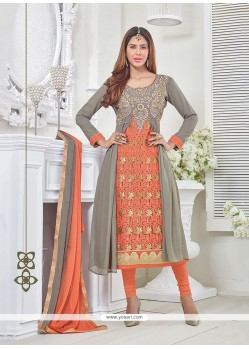 Strange Georgette Embroidered Work Churidar Designer Suit