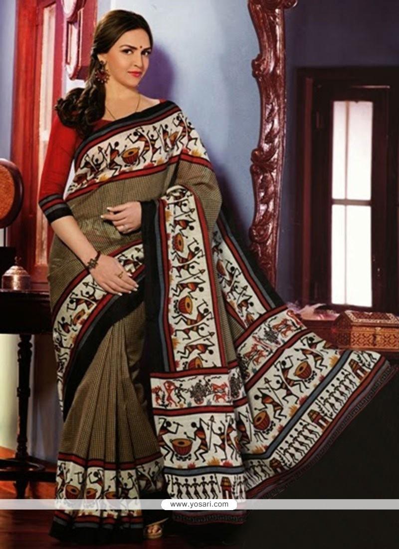 Competent Brown Art Silk Saree