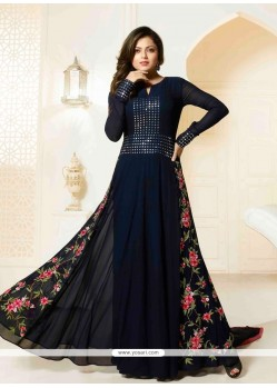 Charming Georgette Navy Blue Designer Floor Length Suit