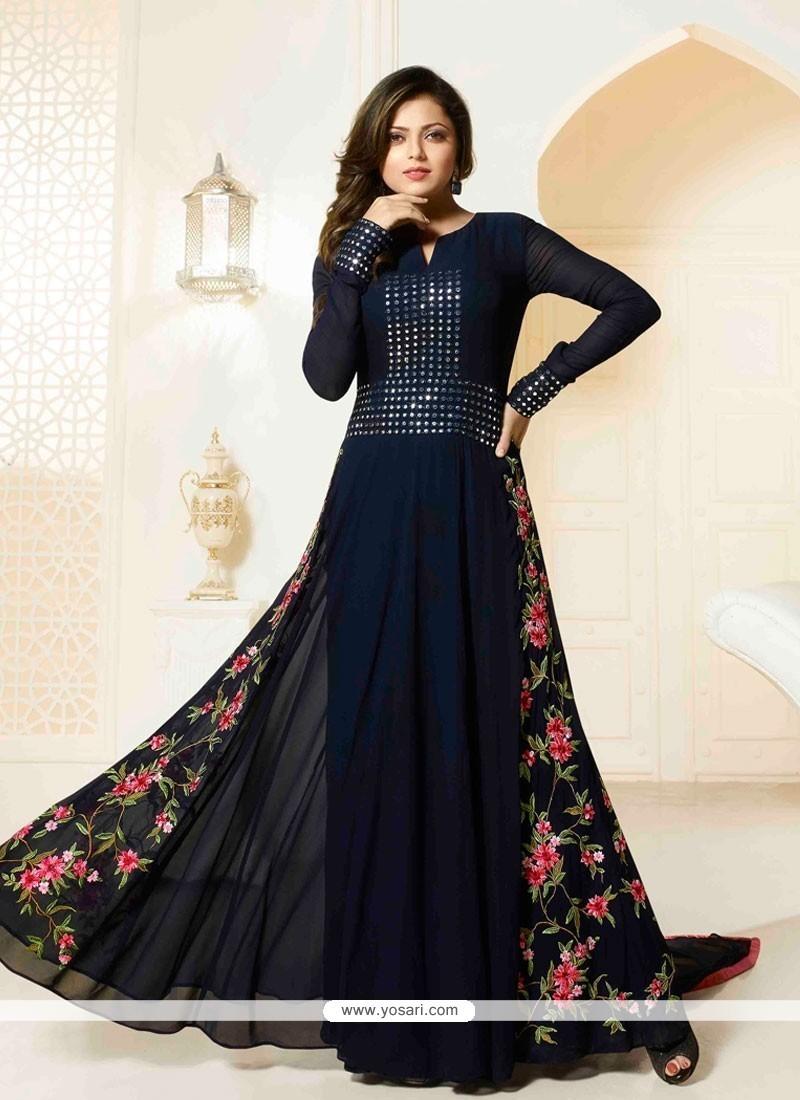 Charming Georgette Navy Blue Designer Floor Length Suit