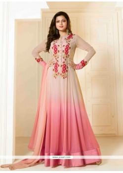 Strange Pink Georgette Designer Floor Length Suit