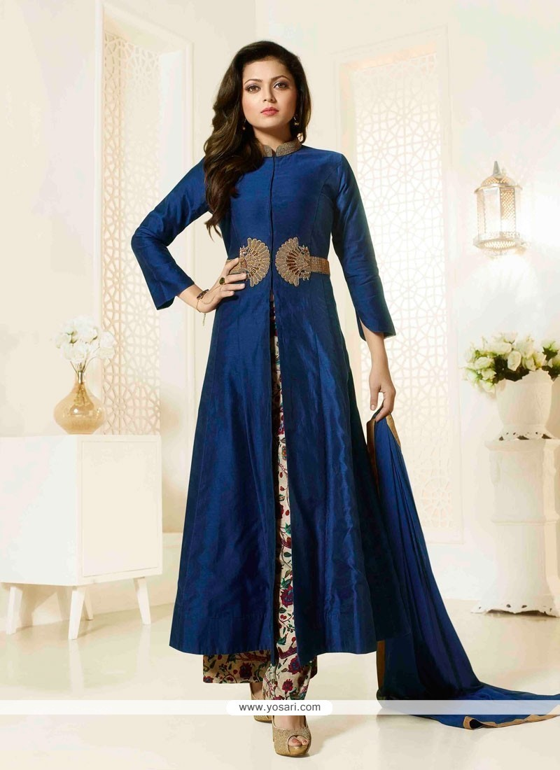 Exciting Navy Blue Georgette Designer Palazzo Salwar Kameez