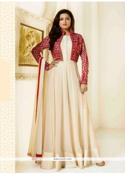 Specialised Embroidered Work Cream Designer Floor Length Suit
