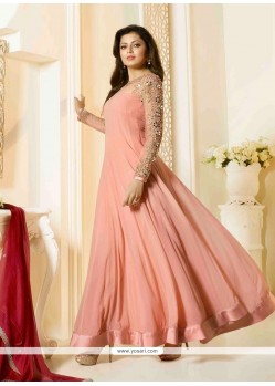 Astonishing Net Peach Embroidered Work Designer Floor Length Suit