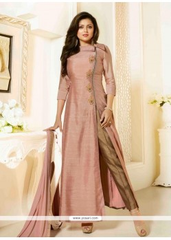 Dignified Peach Embroidered Work Silk Designer Suit