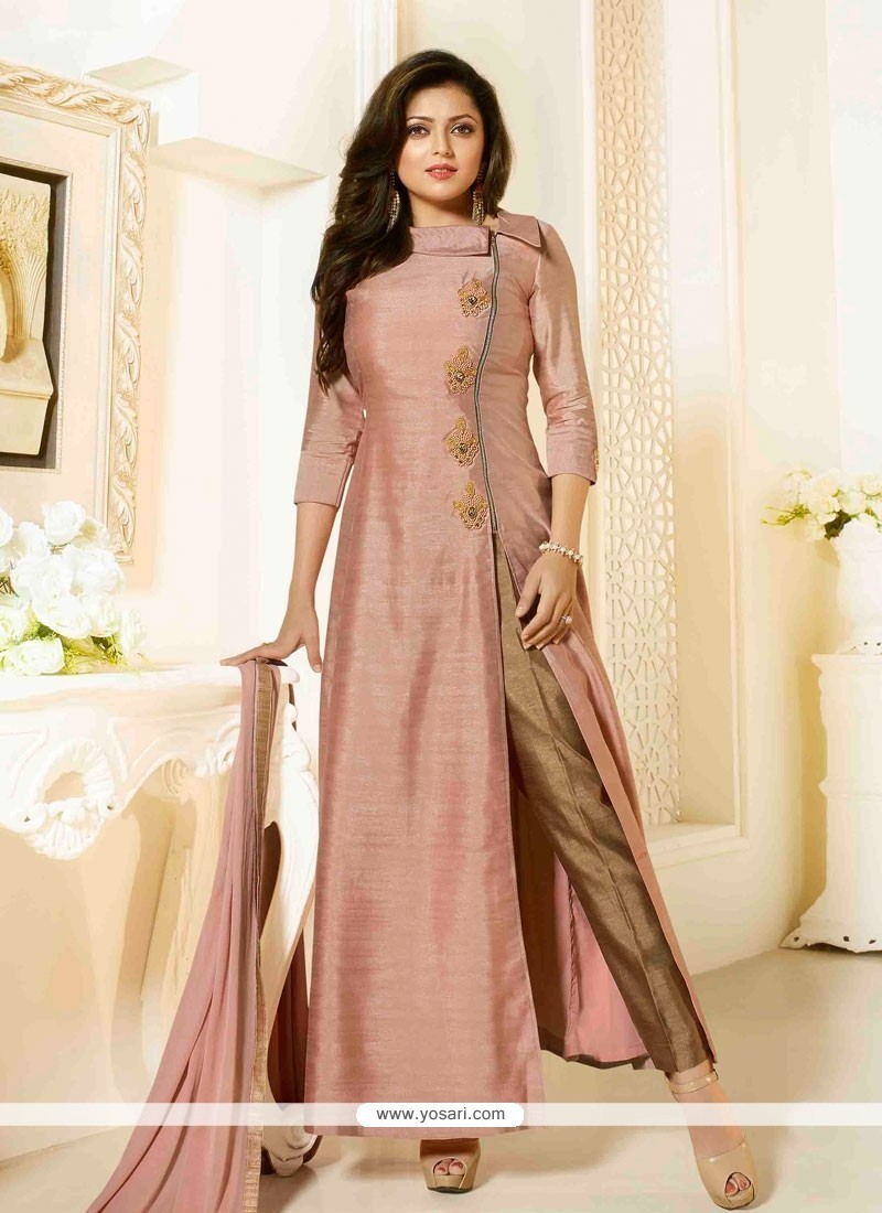 4bdc8bf191 Buy Dignified Peach Embroidered Work Silk Designer Suit | Anarkali Suits