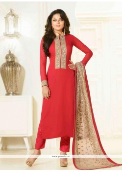 Red Georgette Designer Suit