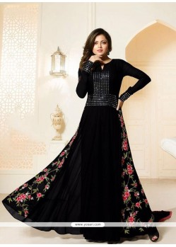 Fashionable Georgette Black Designer Floor Length Suit