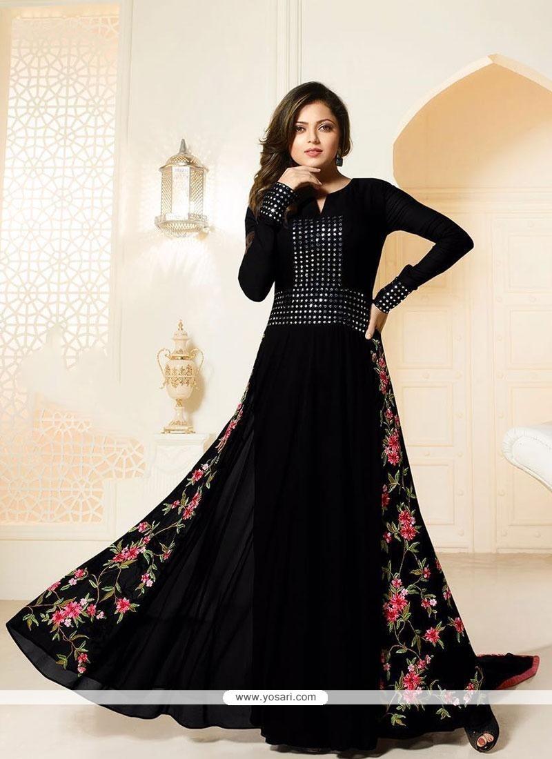 Fashionable Georgette Black Designer Floor Length Suit