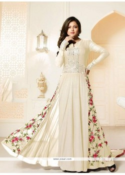 Tantalizing Cream Designer Floor Length Suit