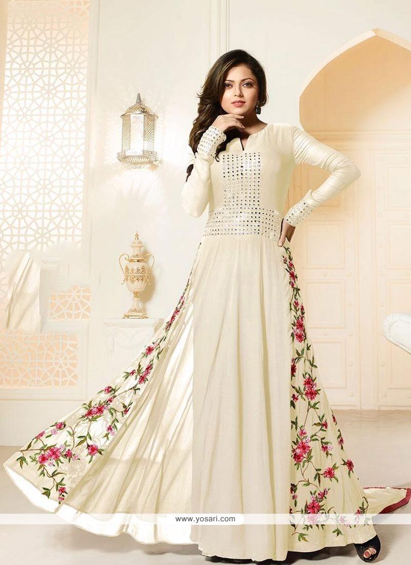 Tantalizing Cream Designer Floor Length Suit