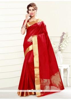 Distinguishable Red Print Work Art Silk Casual Saree